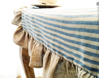 Linen dove blue beige striped ruffled tablecloth- Vintage style tablecloth with ruffles-Large/Small light tablecloth