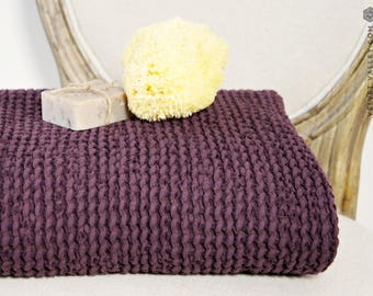 SALE-Linen cotton burgundy bath towel- Waffle textured red wine linen towel- Softened linen washcloth- Beach towel-SPA towel