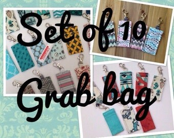 set of 10 grab bag clearance - chapstick keychain holders - lip balm cozy amazing price
