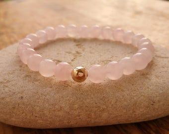 Rose Quartz Bracelet, 9ct Gold Bracelet, Beaded Bracelet, Stretch Bracelet, Quartz Bracelet, Rose Gemstone Bracelet, Boho Bracelet, Bohemian