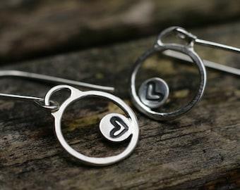 Silver Heart Earrings, Heart Earrings, Valentines Gift, Silver Circle Earrings, Circle Earrings, Sterling Silver Dangle Earrings, Handmade