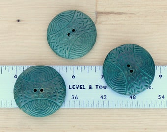 1 3/4 inch green carved wood button - set of 3 - vintage - patena green