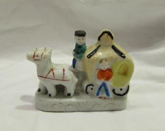 Porcelain Figurine, Horses and Carriage, Miniature, Japan