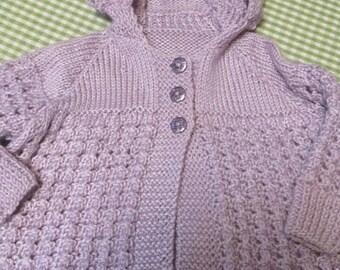 Light Purple Lavender Handknit Child's Sweater Size 24 Month-2T