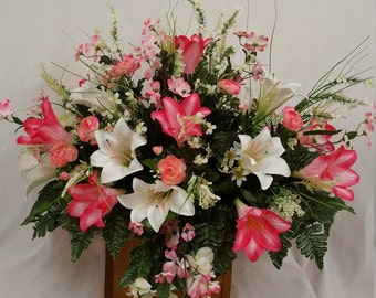 Cemetry Saddle Cream Satin Lilies, Pink Trumpet Lilies, Pink Dogwood, Camillias Pink, Cream Filler Flowers and Green Fern Silk