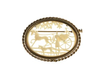 French Depose Celluloid Victorian Scene Brooch