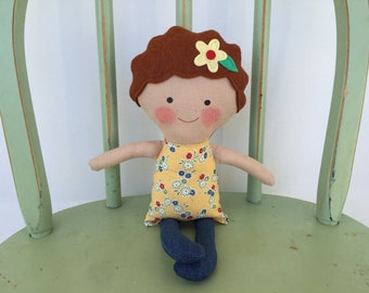Handmade rag doll, perfect for imaginative play!