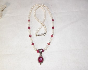 Sterling Silver Necklace With Africian Ruby and Freshwater pearl