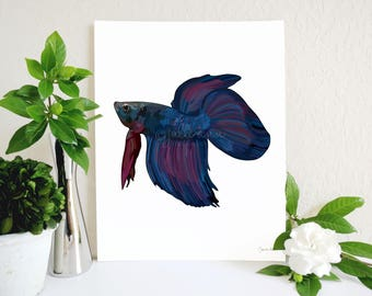 Betta Fish Art Print, Betta Fish Memorial, Beta Fish Art, Half Moon Betta, Siamese Fighting Fish, Fish Lover Gift, Aquarium, Pet Fish Gift