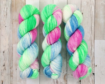 business business business - unikitty inspired | yui fingering|  hand dyed yarn | pink blue green | 100% SW Merino Sock