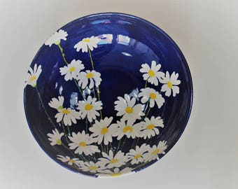 Handpainted ceramic bowl - Daisy Bowl with Butterfly - Fruit bowl, bread bowl, decorative item by Anita Murphy
