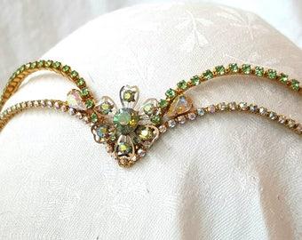 Green & Gold Diadem - Elven - Sylvia-    Goddess - Fairy - Grecian
