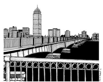 Boston Skyline w Mass Ave & Prudential 8.5x11 Drawing