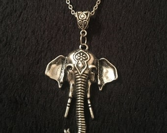 80p UK P&P Handmade Indian Elephant charm pendant necklace with 24 inch chain. Bohemian Bollywood African Africa Animal Headdress Thailand *