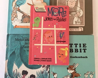 "Vintage Lot of 5 Children's Hardback Easy Reader ""I Can Read""  books - 1960s 1970s"