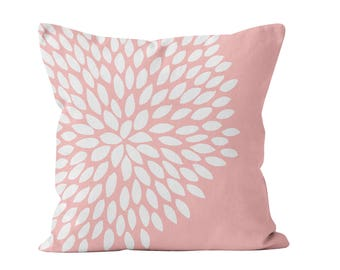 45 colors Blush Pink Pillow Cover, Flower Pillow Cover, Baby Pink Dahlia Pillow Cover, Light Pink Coral Pastel Pink Nursery Decor