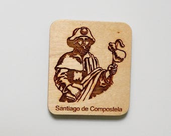 wooden Santiago way Fridge magnet