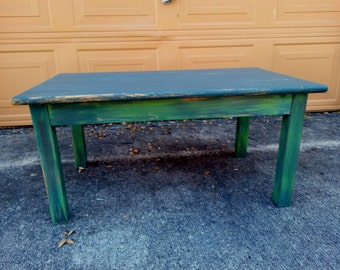 Teal Coffee Table, Man Cave Decor, Hipster Decor, Cottage Decor, Small Coffee Table, Rustic Furniture, Distressed Table, Rustic Home Decor