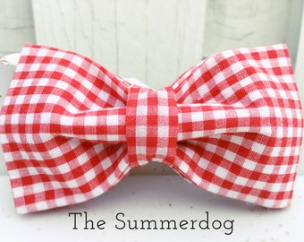 DOG BOW-TIE, Dog Collar, Dog Collars, Dog Collar Set, Checkered Fabric, Checkered Collar, Picnic, Summerdog Bow-Tie, Summerdog Collection