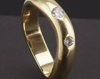 Gold Diamond Wedding Band Ring 9K 9 carat yellow gold size US 6, UK L Fully Hallmarked