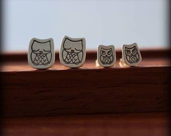 Mother/Daughter earring set, Owl earrings