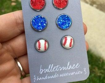 Baseball earrings, stud earrings, MLB, hypoallergenic, baseball