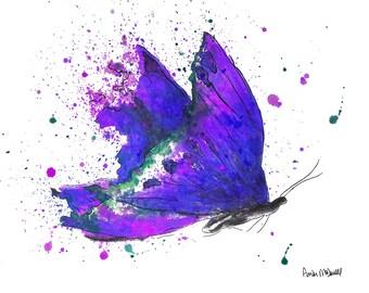 Butterfly Gift, Butterfly Wall Art, Watercolor Butterfly Print, Butterfly Wall Art, Butterfly Print, Purple Butterfly, Butterfly Decor