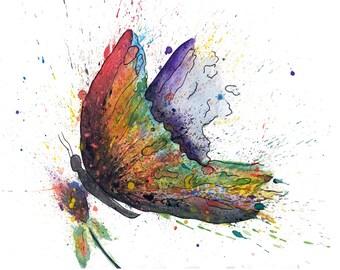 Butterfly Art, Watercolor Butterfly, Watercolor Butterfly Print, Butterfly Wall Art, Butterfly Painting, Nursery Art, Abstract Butterfly