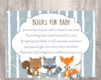 Woodland Baby Shower Book Request Cards, INSTANT DOWNLOAD, Printable Woodland Forest Animals Book Request Invite Insert