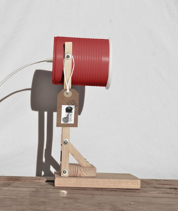 Desk lamp/ nightstand lamp / studio lamp, coral red.... eco friendly: handmade, recycled from tomato can ! EURO , UK , US, or Australia plug