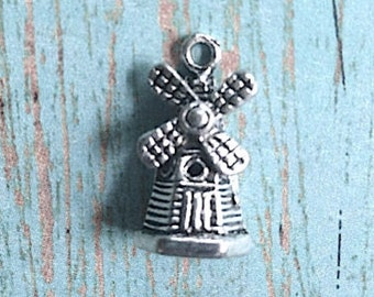 8 Windmill charms 3D antique silver tone - silver windmill pendants, Dutch charms, Holland charms, Europe charms, Netherlands charm, B7