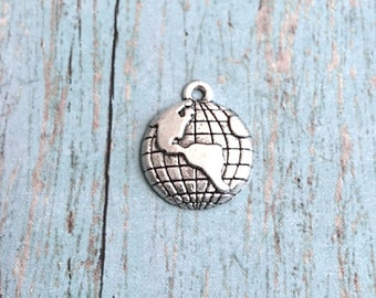 8 Globe charms (1 sided) antique silver tone - silver globe pendants, Earth charms, travel charms, geography charms, world map charms, R3