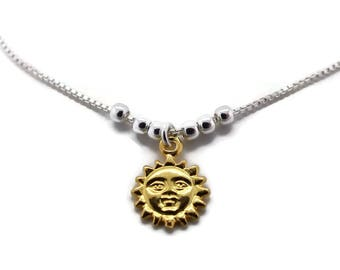 Silver Gold Plated Sun Anklet, Womens Jewellery, Womens Anklet, Womens Silver, Silver Anklet, Womens Anklets, Silver Anklets, Mother's Day