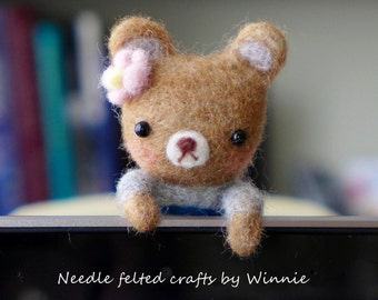 Needle felted bear handmade OOAK wool sculpture