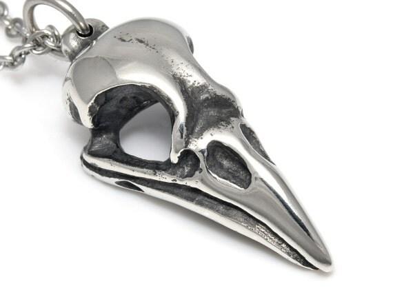 magpie skull pendant necklace metal bird charm handmade