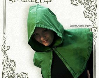 READY TO SHIP - St. Patrick green cape whit hood celtic trim cotton fantasy Larp vikings pagan wood elf elves lotr renaissance cloak yule