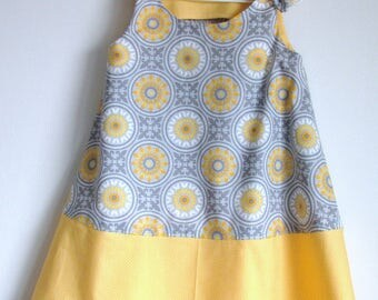 Gray Geometric and Sunshine Yellow Little Girl Spring and Summer Sleeveless Dress, Size 3T