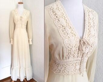 Vtg 70s Sheer Ivory Crochet Bodice Bohemian Maxi Dress S