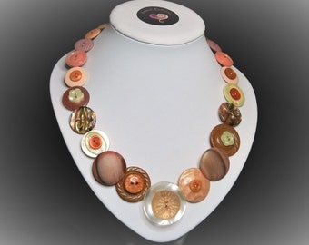 Button necklace - Peaches n Cream//vintage buttons/gifts for her/button jewelry/Christmas gift/Mothers day/birthday present/OOAK
