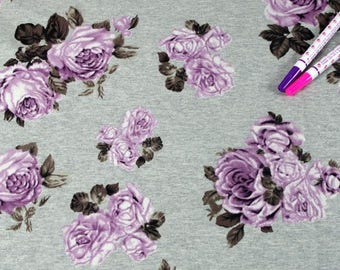 Purple Rose French Baby Terry Knit Fabric by Yard, Width 185cm (72 Inch) - Melange Color