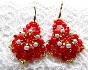 Bead Embrodery Earrings Red Beaded Earrings Beadwork Earrings Red Gold Earrings Handmade Jewelry Ready to ship