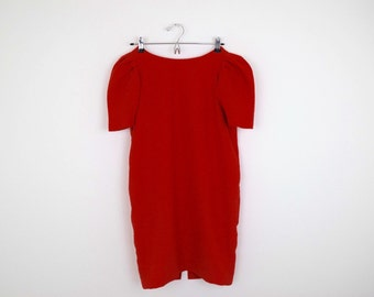 Vintage RED Mini Dress with POCKETS! / Size S/M