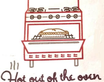 """Tea towel. """"Hot out of the oven"""" Hand embroidered dish towel."""