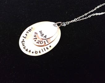 Hand Stamped Sterling Silver 3 Disc Stacked Family Necklace or Anniversary Chain
