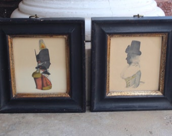 Pair of Vintage BORGHESE Colored Silhouettes, Man and Woman