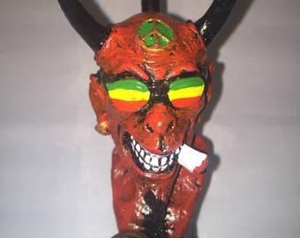 Tobacco Hand Made Pipe, Rasta Glasses Devil Design