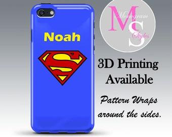 Monogram iPhone Case Personalized Phone Superman Custom Monogrammed iPhone 4, 4S, 5C, 5, 5S, 5SE, iPhone 6, 7, 7 Plus Tough Case #2686
