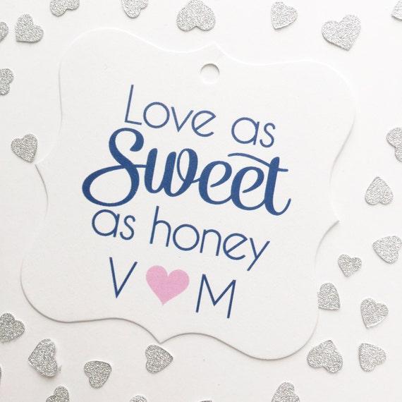 Honey Favor Tags, Love As Sweet As Honey Wedding Favor Tags, Honey ...