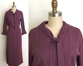 Vintage 1940s dress  // 40s purple gabardine office dress