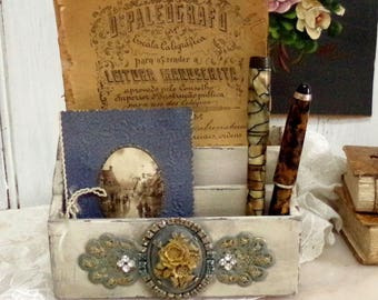 Vintage wood rhinestones letter napkin holder